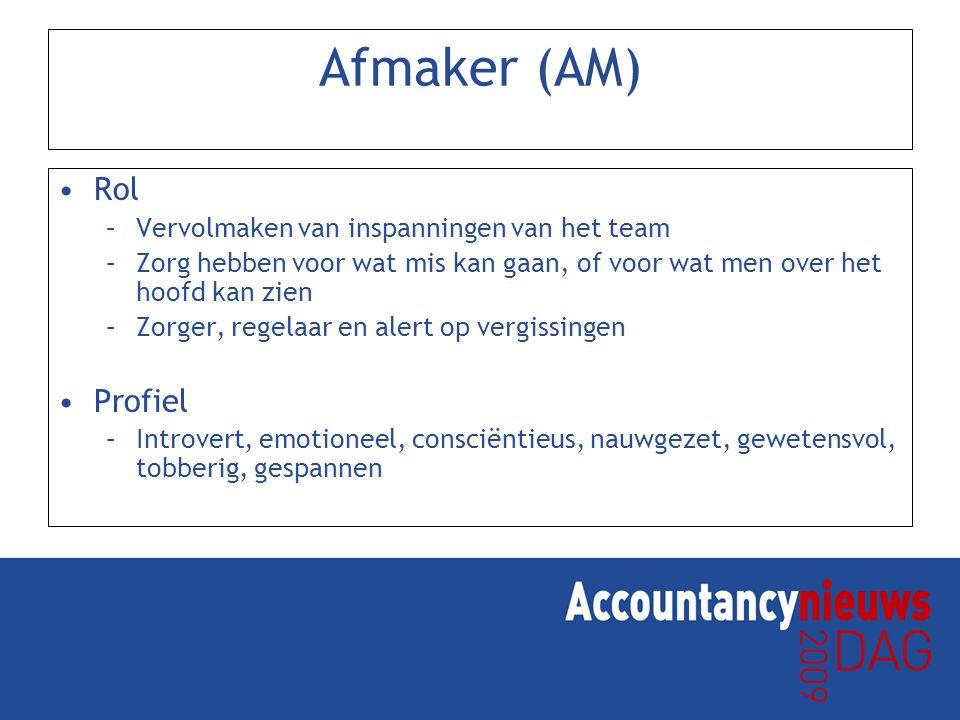 Afmaker (AM) Rol –Vervolmaken van inspanningen van het team –Zorg hebben voor wat mis kan gaan, of voor wat men over het hoofd kan zien –Zorger, regelaar en alert op vergissingen Profiel –Introvert, emotioneel, consciëntieus, nauwgezet, gewetensvol, tobberig, gespannen