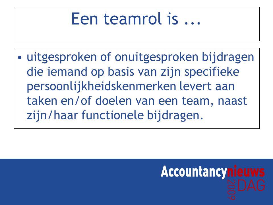 Een teamrol is... uitgesproken of onuitgesproken bijdragen die iemand op basis van zijn specifieke persoonlijkheidskenmerken levert aan taken en/of do