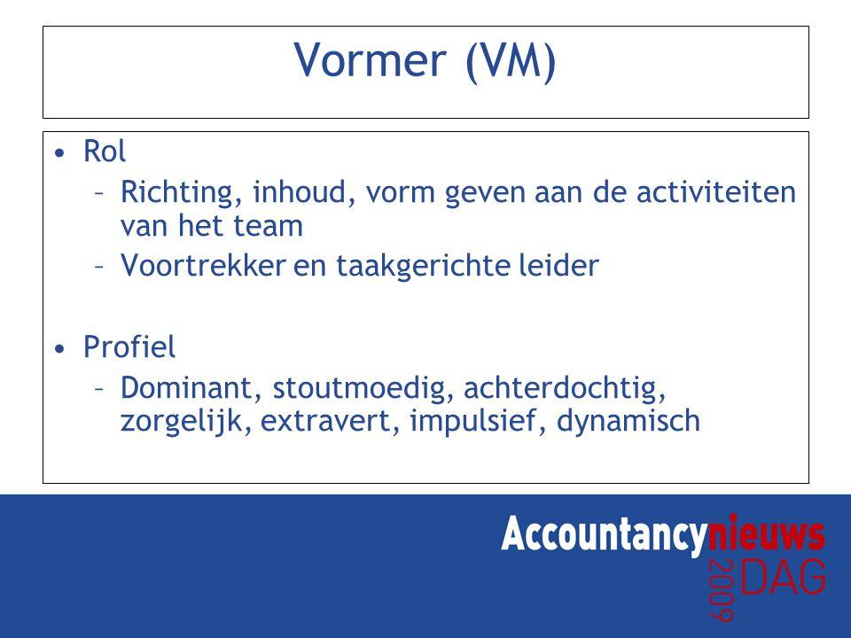 Vormer (VM) Rol –Richting, inhoud, vorm geven aan de activiteiten van het team –Voortrekker en taakgerichte leider Profiel –Dominant, stoutmoedig, achterdochtig, zorgelijk, extravert, impulsief, dynamisch