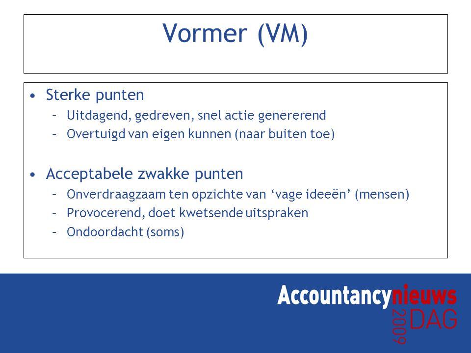 Vormer (VM) Sterke punten –Uitdagend, gedreven, snel actie genererend –Overtuigd van eigen kunnen (naar buiten toe) Acceptabele zwakke punten –Onverdr