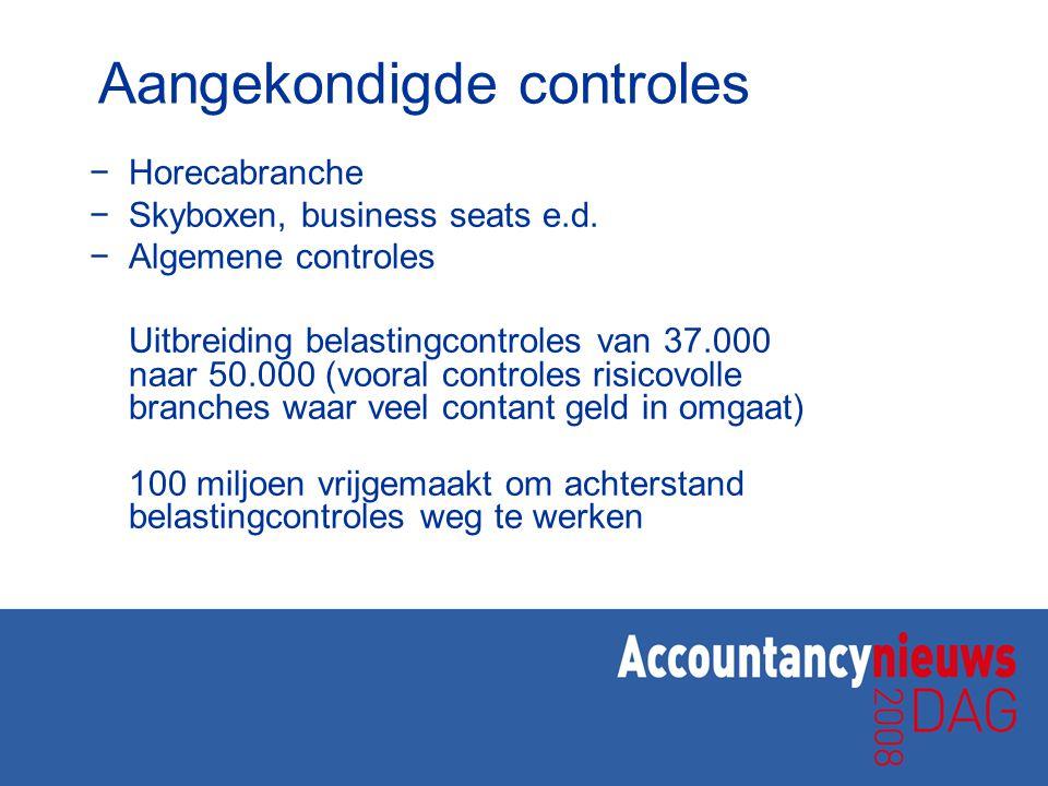 Aangekondigde controles −Horecabranche −Skyboxen, business seats e.d. −Algemene controles Uitbreiding belastingcontroles van 37.000 naar 50.000 (voora