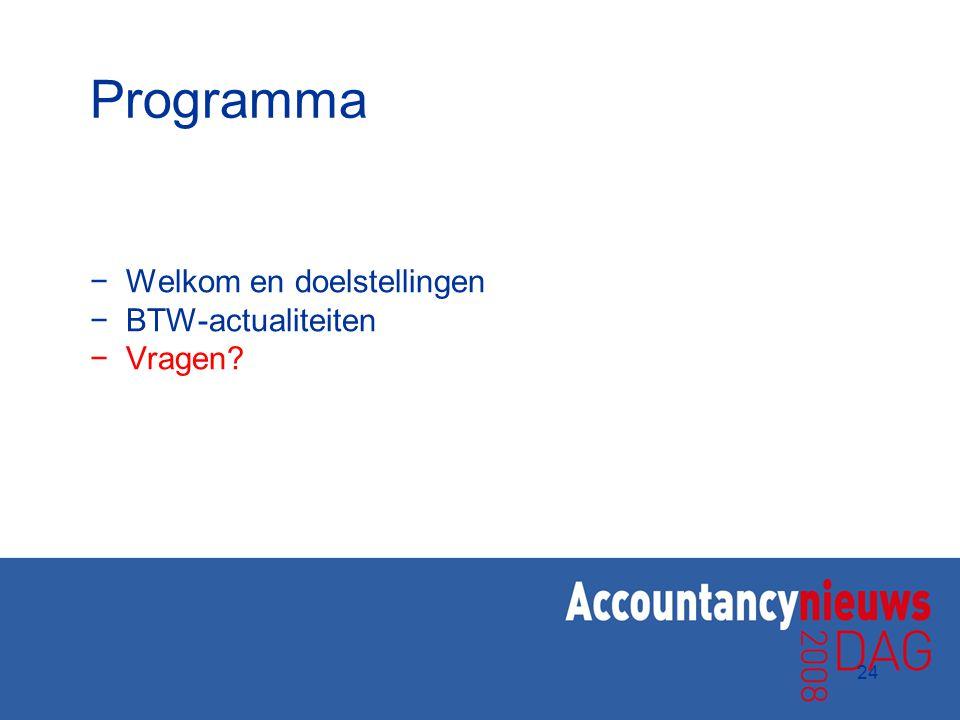 24 Programma −Welkom en doelstellingen −BTW-actualiteiten −Vragen?