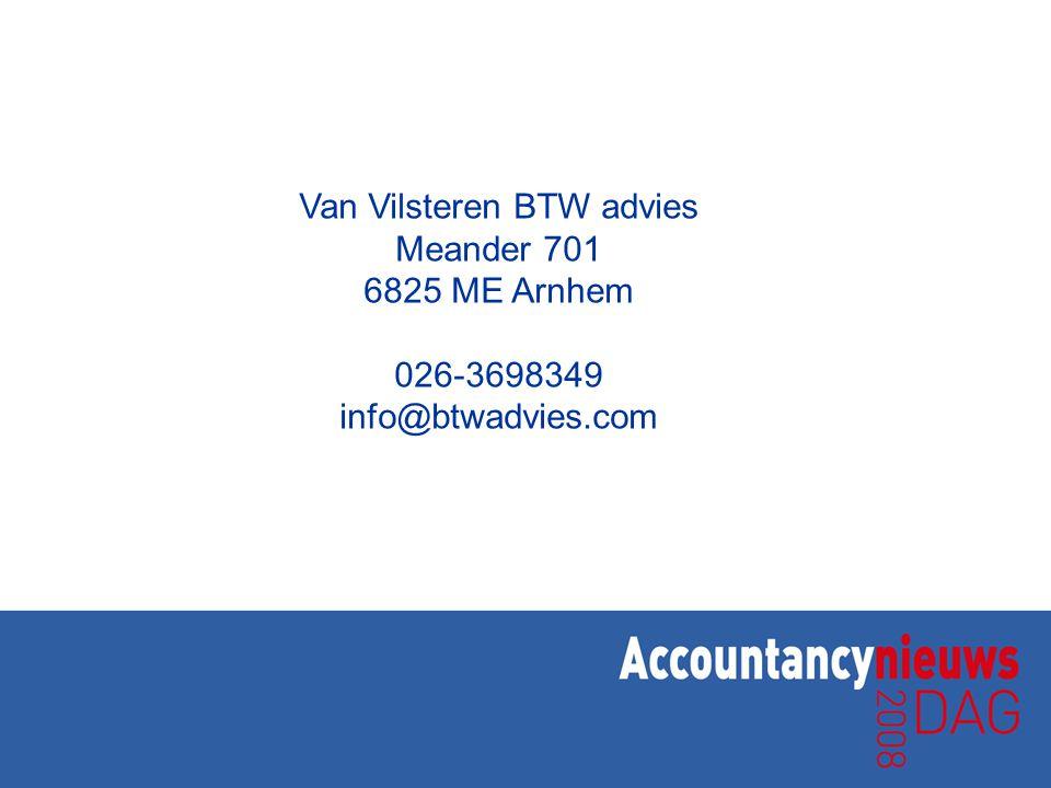 Van Vilsteren BTW advies Meander 701 6825 ME Arnhem 026-3698349 info@btwadvies.com