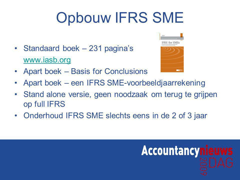 Opbouw IFRS SME Standaard boek – 231 pagina's www.iasb.org Apart boek – Basis for Conclusions Apart boek – een IFRS SME-voorbeeldjaarrekening Stand alone versie, geen noodzaak om terug te grijpen op full IFRS Onderhoud IFRS SME slechts eens in de 2 of 3 jaar