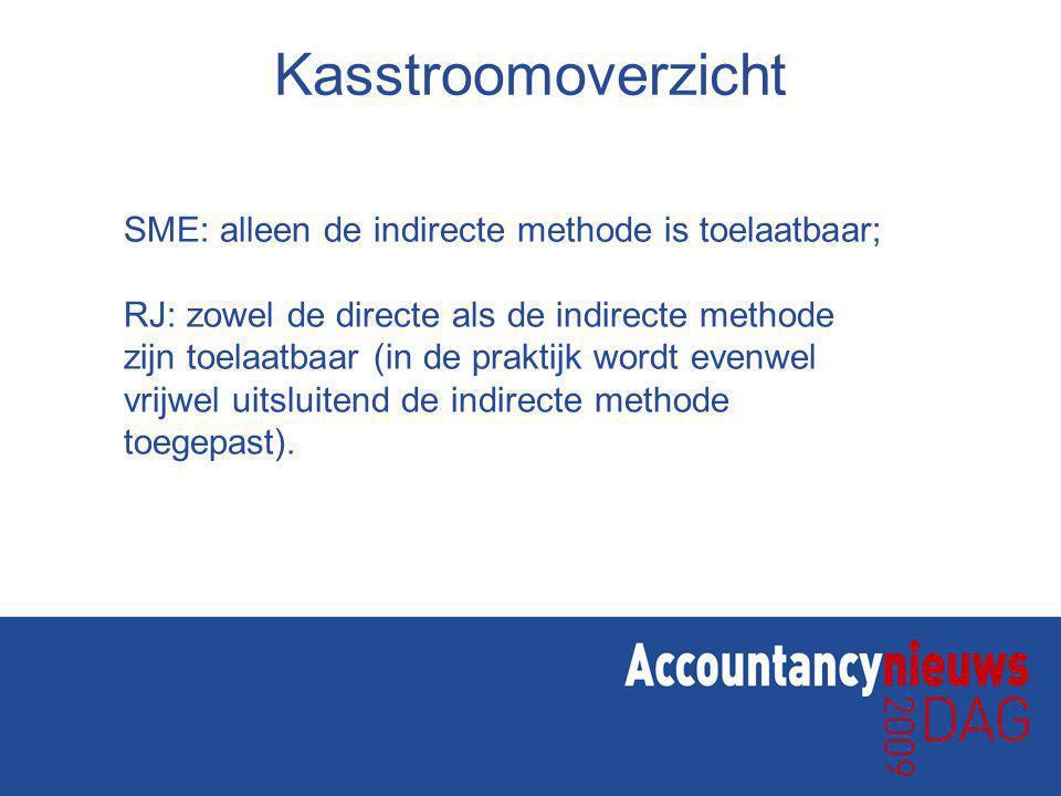 Kasstroomoverzicht SME: alleen de indirecte methode is toelaatbaar; RJ: zowel de directe als de indirecte methode zijn toelaatbaar (in de praktijk wordt evenwel vrijwel uitsluitend de indirecte methode toegepast).