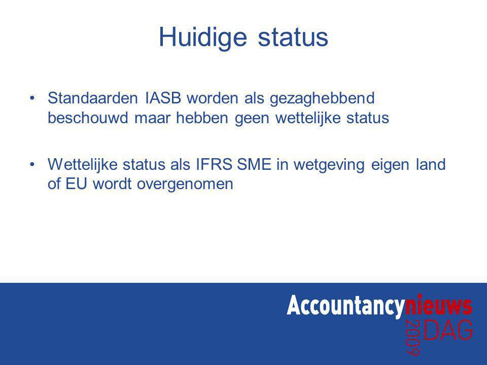 Huidige status Standaarden IASB worden als gezaghebbend beschouwd maar hebben geen wettelijke status Wettelijke status als IFRS SME in wetgeving eigen land of EU wordt overgenomen