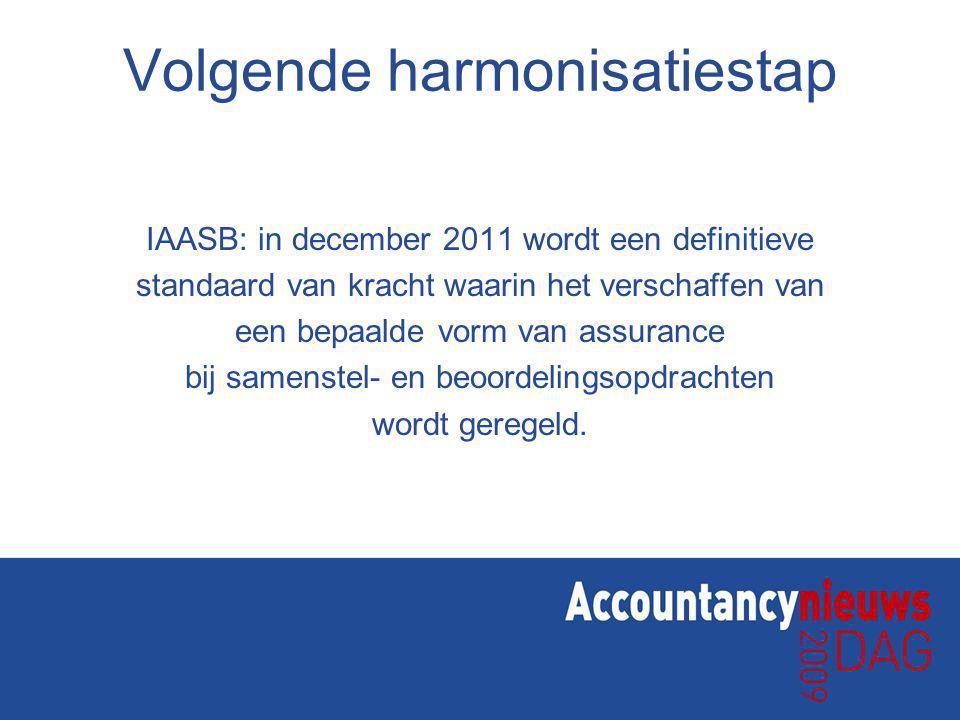 Volgende harmonisatiestap IAASB: in december 2011 wordt een definitieve standaard van kracht waarin het verschaffen van een bepaalde vorm van assurance bij samenstel- en beoordelingsopdrachten wordt geregeld.