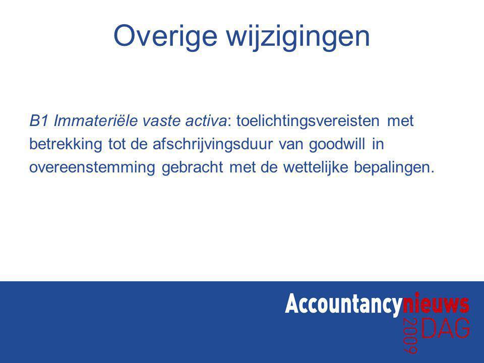 Overige wijzigingen B1 Immateriële vaste activa: toelichtingsvereisten met betrekking tot de afschrijvingsduur van goodwill in overeenstemming gebracht met de wettelijke bepalingen.