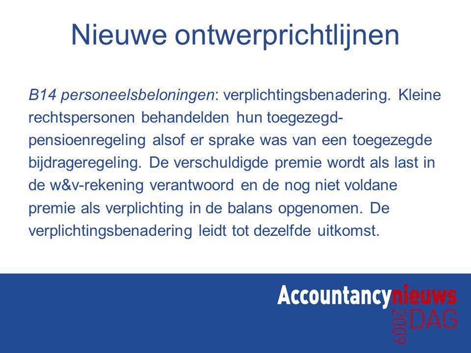 Nieuwe ontwerprichtlijnen B14 personeelsbeloningen: verplichtingsbenadering.