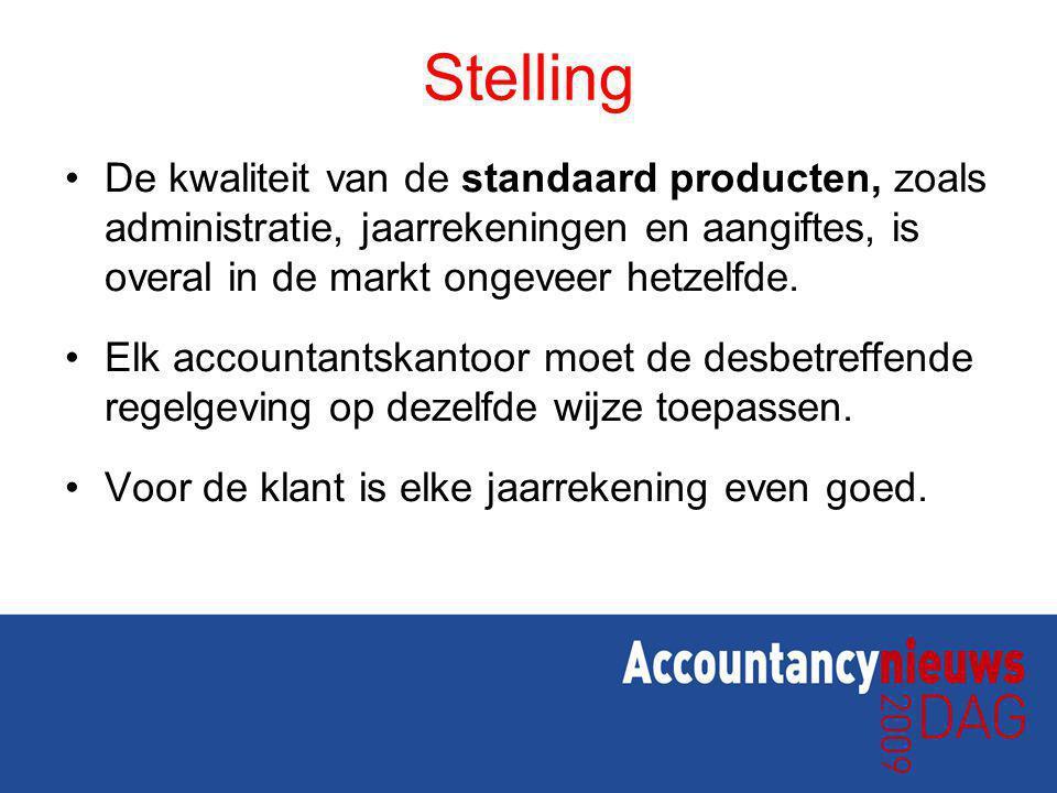 Stelling De kwaliteit van de standaard producten, zoals administratie, jaarrekeningen en aangiftes, is overal in de markt ongeveer hetzelfde. Elk acco