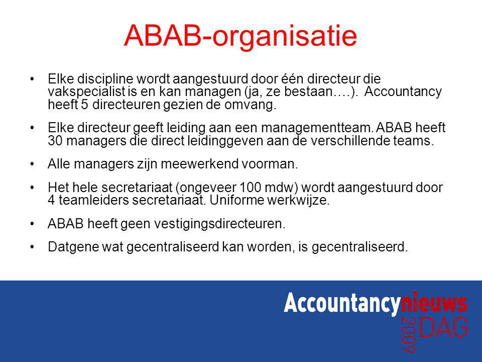 ABAB-organisatie Elke discipline wordt aangestuurd door één directeur die vakspecialist is en kan managen (ja, ze bestaan….). Accountancy heeft 5 dire