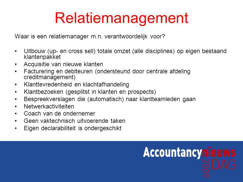 Relatiemanagement Waar is een relatiemanager m.n. verantwoordelijk voor? Uitbouw (up- en cross sell) totale omzet (alle disciplines) op eigen bestaand