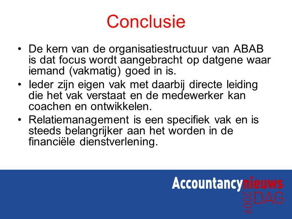 Conclusie De kern van de organisatiestructuur van ABAB is dat focus wordt aangebracht op datgene waar iemand (vakmatig) goed in is. Ieder zijn eigen v