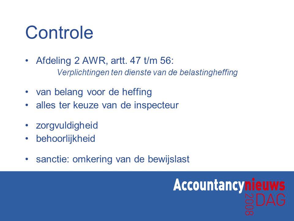 Controle Afdeling 2 AWR, artt.