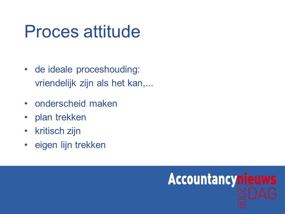 Proces attitude de ideale proceshouding: vriendelijk zijn als het kan,...