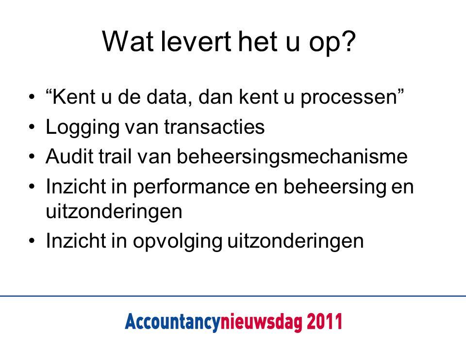 """Wat levert het u op? """"Kent u de data, dan kent u processen"""" Logging van transacties Audit trail van beheersingsmechanisme Inzicht in performance en be"""