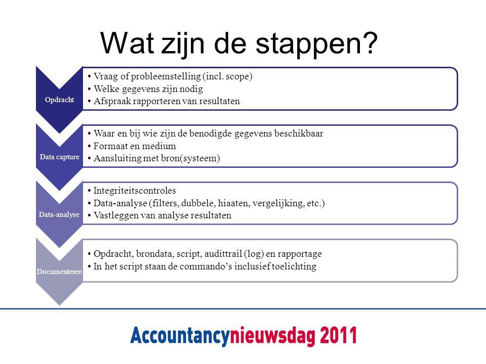 Wat zijn de stappen? Opdracht Vraag of probleemstelling (incl. scope) Welke gegevens zijn nodig Afspraak rapporteren van resultaten Data capture Waar