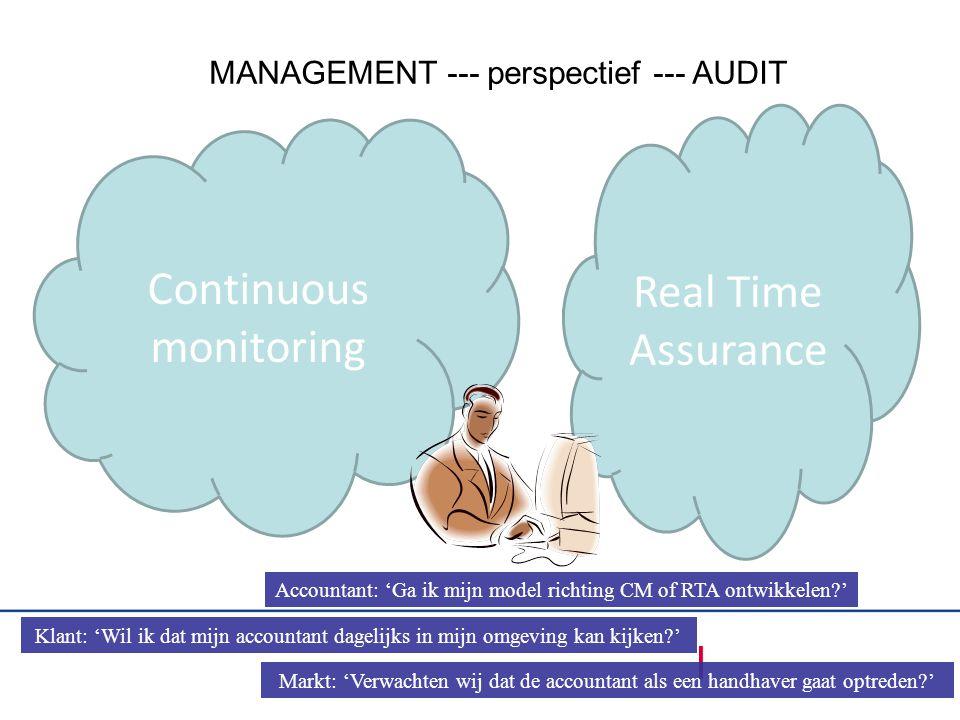 Continuous monitoring Real Time Assurance Accountant: 'Ga ik mijn model richting CM of RTA ontwikkelen?' Klant: 'Wil ik dat mijn accountant dagelijks in mijn omgeving kan kijken?' Markt: 'Verwachten wij dat de accountant als een handhaver gaat optreden?' MANAGEMENT --- perspectief --- AUDIT