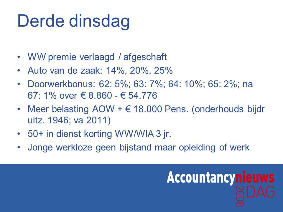 Derde dinsdag WW premie verlaagd / afgeschaft Auto van de zaak: 14%, 20%, 25% Doorwerkbonus: 62: 5%; 63: 7%; 64: 10%; 65: 2%; na 67: 1% over € 8.860 -