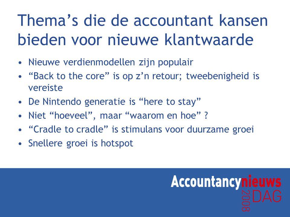 Thema's die de accountant kansen bieden voor nieuwe klantwaarde Nieuwe verdienmodellen zijn populair Back to the core is op z'n retour; tweebenigheid is vereiste De Nintendo generatie is here to stay Niet hoeveel , maar waarom en hoe .