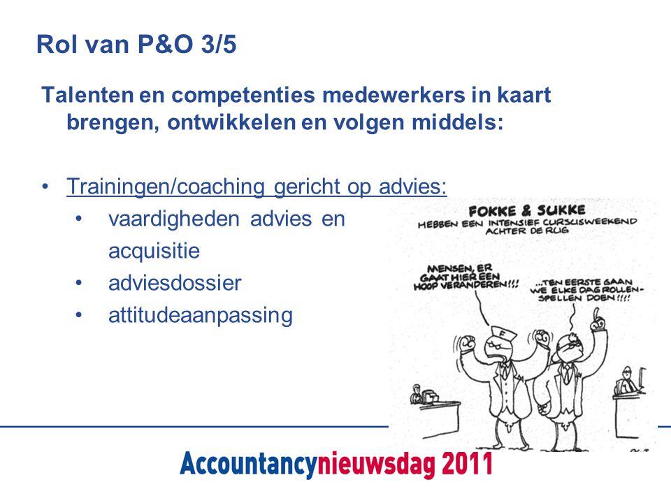 Rol van P&O 3/5 Talenten en competenties medewerkers in kaart brengen, ontwikkelen en volgen middels: Trainingen/coaching gericht op advies: vaardighe
