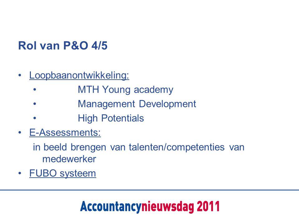Rol van P&O 4/5 Loopbaanontwikkeling: MTH Young academy Management Development High Potentials E-Assessments: in beeld brengen van talenten/competenti