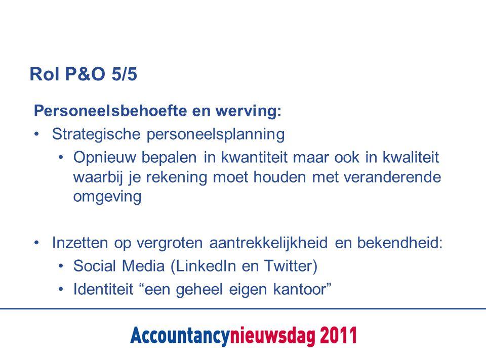 Rol P&O 5/5 Personeelsbehoefte en werving: Strategische personeelsplanning Opnieuw bepalen in kwantiteit maar ook in kwaliteit waarbij je rekening moe
