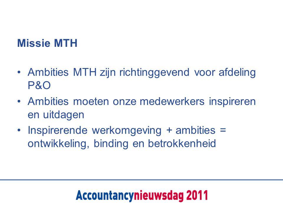 Missie MTH Ambities MTH zijn richtinggevend voor afdeling P&O Ambities moeten onze medewerkers inspireren en uitdagen Inspirerende werkomgeving + ambi