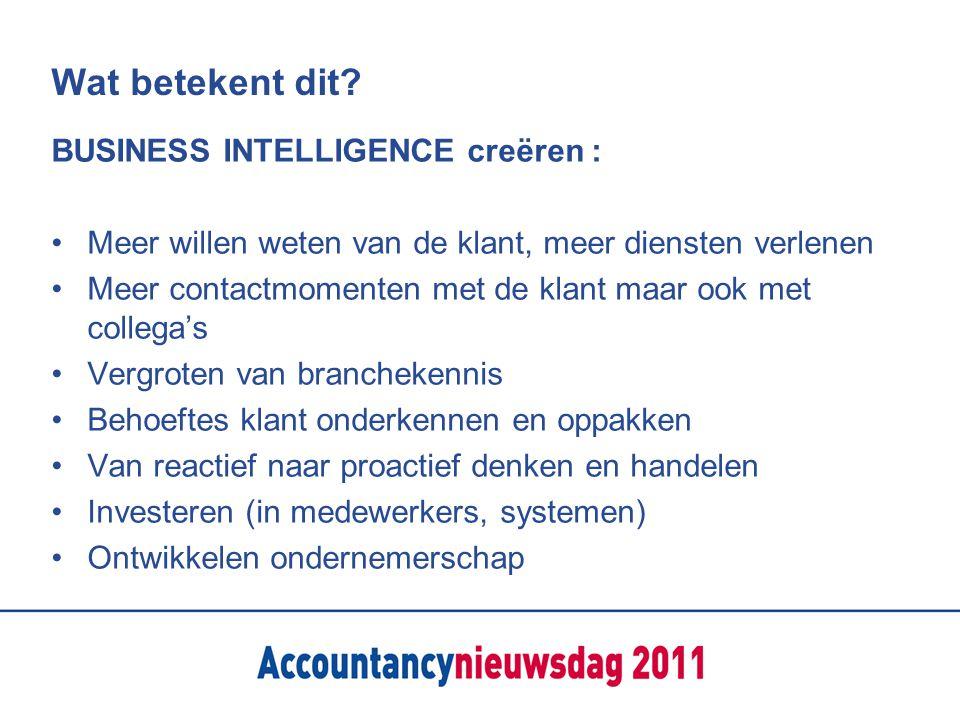 Wat betekent dit? BUSINESS INTELLIGENCE creëren : Meer willen weten van de klant, meer diensten verlenen Meer contactmomenten met de klant maar ook me