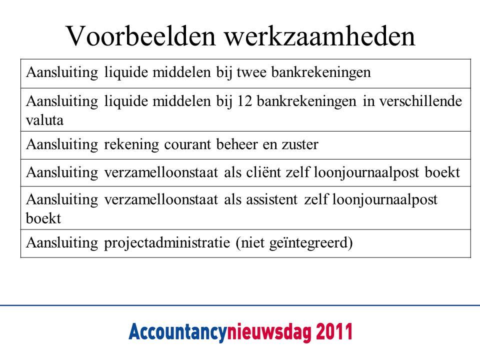 Voorbeelden werkzaamheden Aansluiting liquide middelen bij twee bankrekeningen Aansluiting liquide middelen bij 12 bankrekeningen in verschillende val