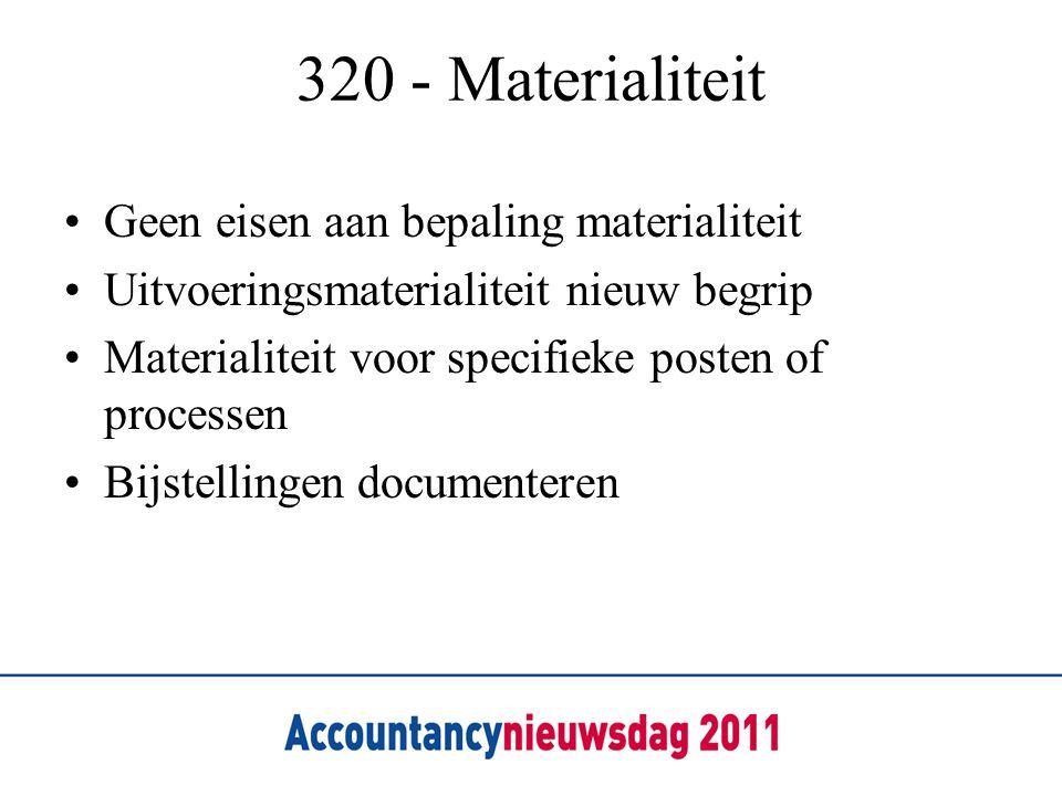 320 - Materialiteit Geen eisen aan bepaling materialiteit Uitvoeringsmaterialiteit nieuw begrip Materialiteit voor specifieke posten of processen Bijstellingen documenteren