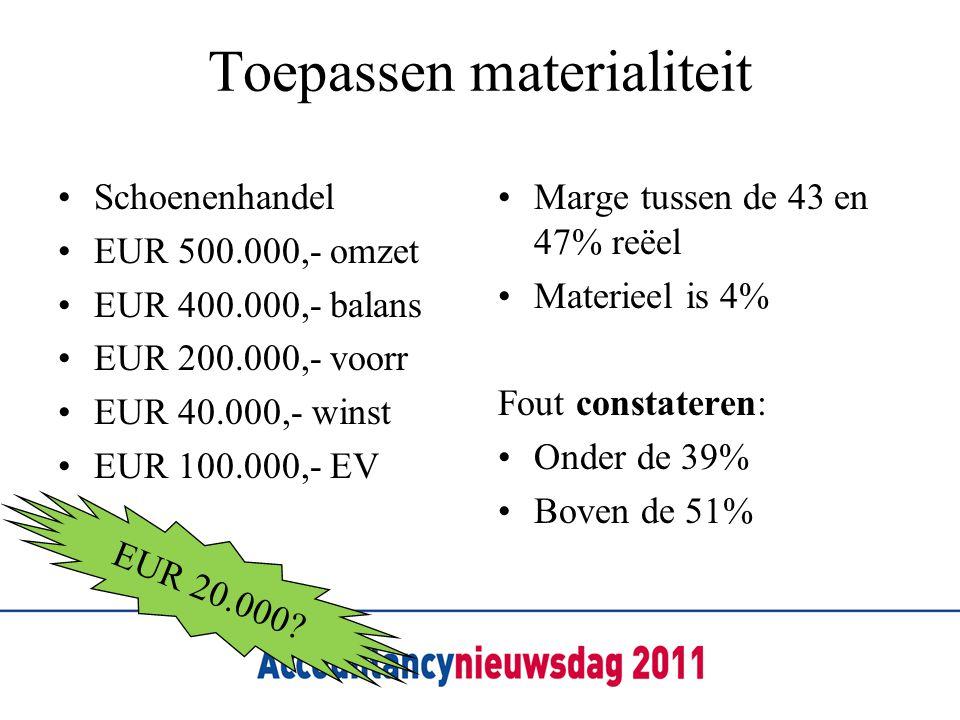 Toepassen materialiteit Schoenenhandel EUR 500.000,- omzet EUR 400.000,- balans EUR 200.000,- voorr EUR 40.000,- winst EUR 100.000,- EV Marge tussen de 43 en 47% reëel Materieel is 4% Fout constateren: Onder de 39% Boven de 51% EUR 20.000?