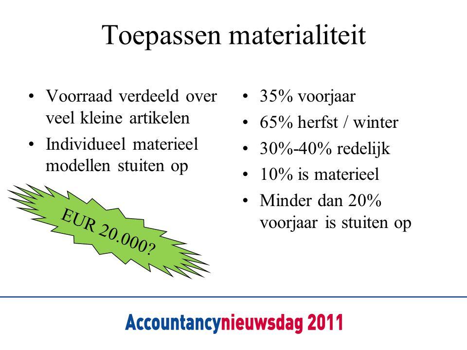 Toepassen materialiteit Voorraad verdeeld over veel kleine artikelen Individueel materieel modellen stuiten op 35% voorjaar 65% herfst / winter 30%-40% redelijk 10% is materieel Minder dan 20% voorjaar is stuiten op EUR 20.000?