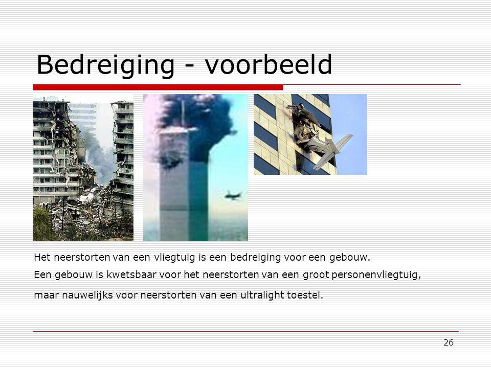 26 Het neerstorten van een vliegtuig is een bedreiging voor een gebouw. Een gebouw is kwetsbaar voor het neerstorten van een groot personenvliegtuig,