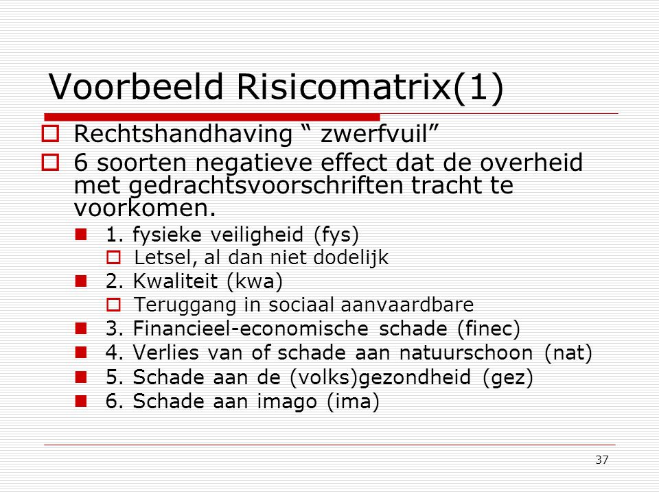 """37 Voorbeeld Risicomatrix(1)  Rechtshandhaving """" zwerfvuil""""  6 soorten negatieve effect dat de overheid met gedrachtsvoorschriften tracht te voorkom"""