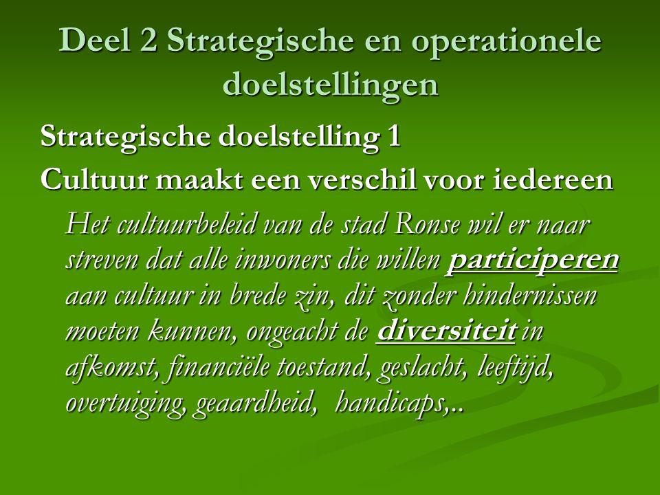 Deel 2 Strategische en operationele doelstellingen Strategische doelstelling 1 Cultuur maakt een verschil voor iedereen Het cultuurbeleid van de stad
