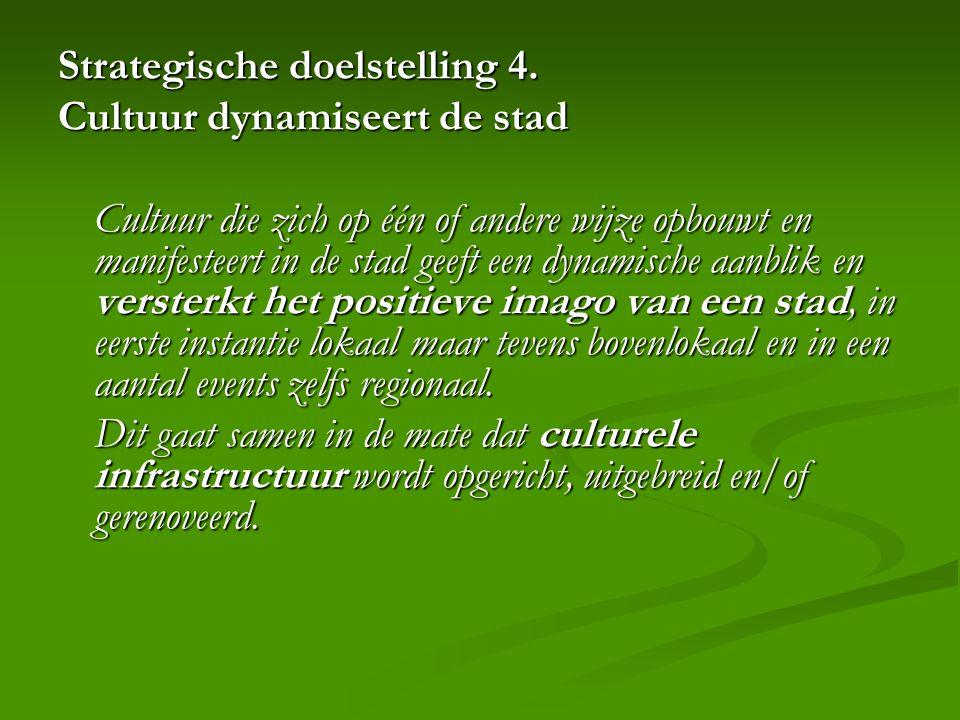 Strategische doelstelling 4. Cultuur dynamiseert de stad Cultuur die zich op één of andere wijze opbouwt en manifesteert in de stad geeft een dynamisc