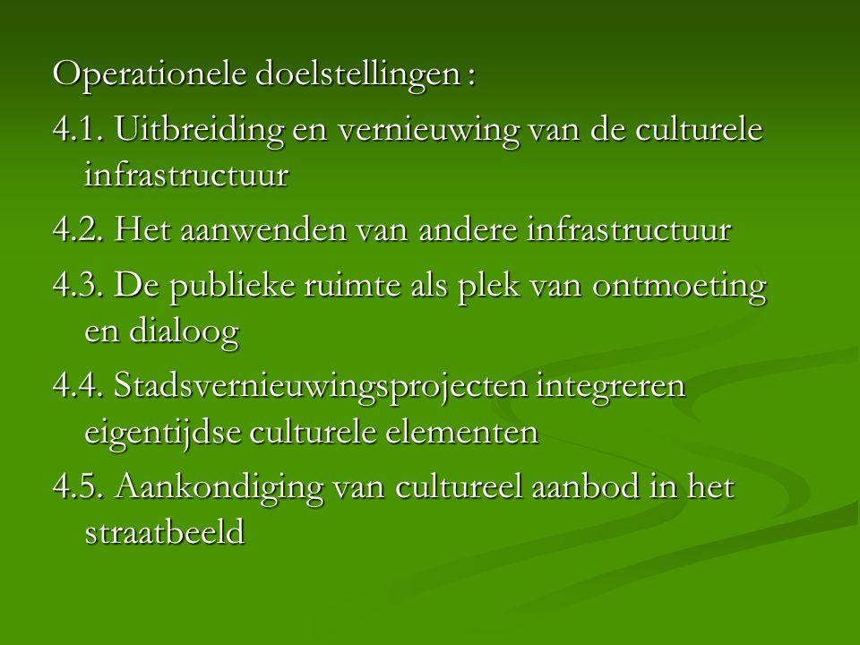 Operationele doelstellingen : 4.1. Uitbreiding en vernieuwing van de culturele infrastructuur 4.2. Het aanwenden van andere infrastructuur 4.3. De pub