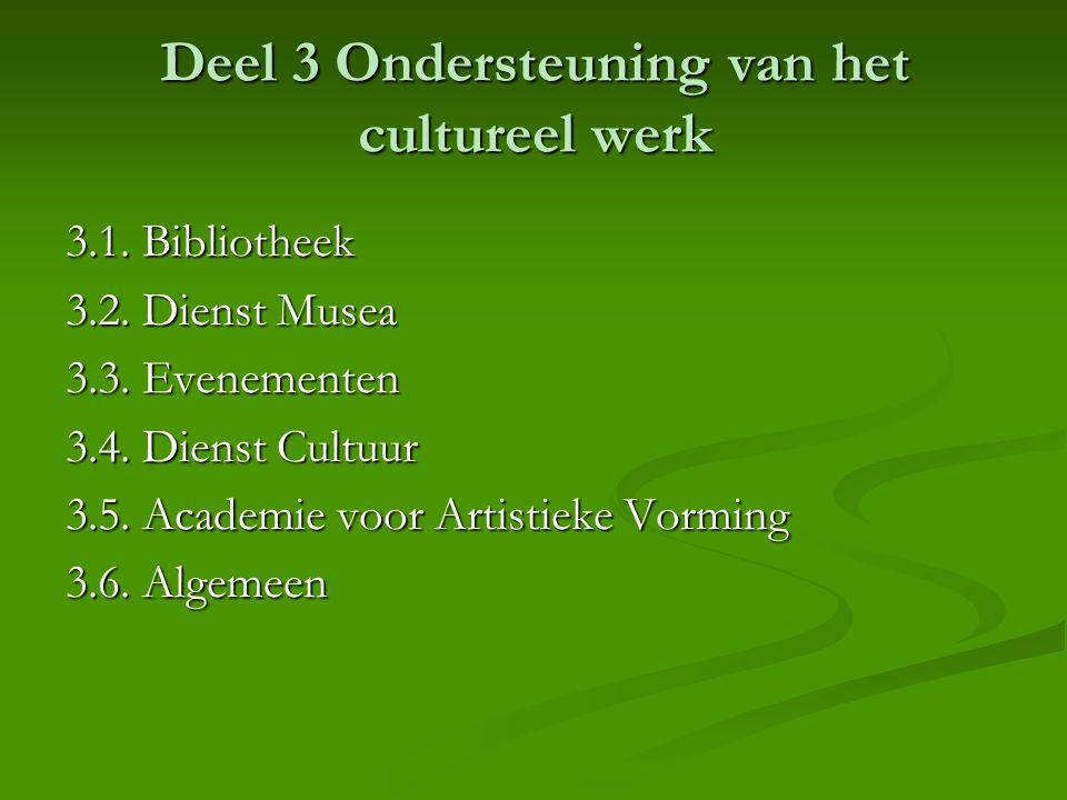 Deel 3 Ondersteuning van het cultureel werk 3.1. Bibliotheek 3.2. Dienst Musea 3.3. Evenementen 3.4. Dienst Cultuur 3.5. Academie voor Artistieke Vorm