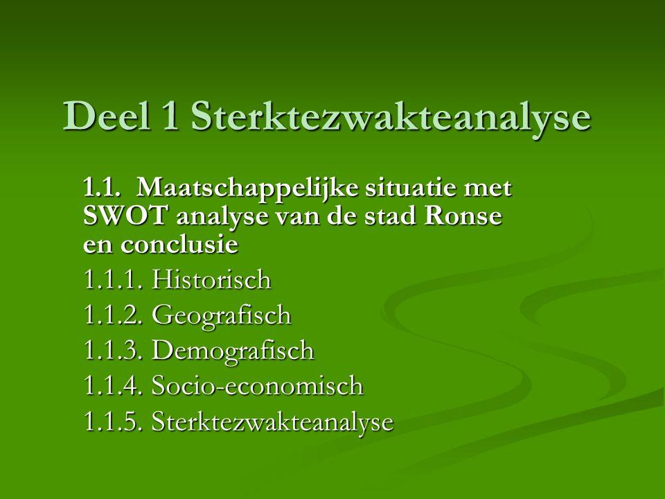 Deel 1 Sterktezwakteanalyse 1.1. Maatschappelijke situatie met SWOT analyse van de stad Ronse en conclusie 1.1.1. Historisch 1.1.2. Geografisch 1.1.3.