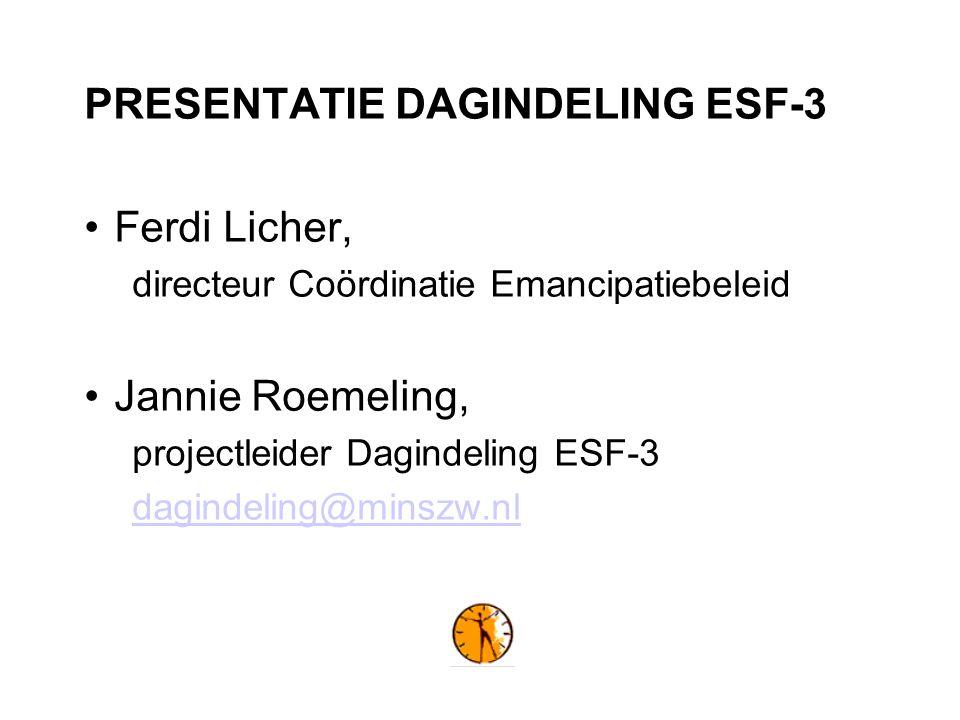 PRESENTATIE DAGINDELING ESF-3 Ferdi Licher, directeur Coördinatie Emancipatiebeleid Jannie Roemeling, projectleider Dagindeling ESF-3 dagindeling@minszw.nl