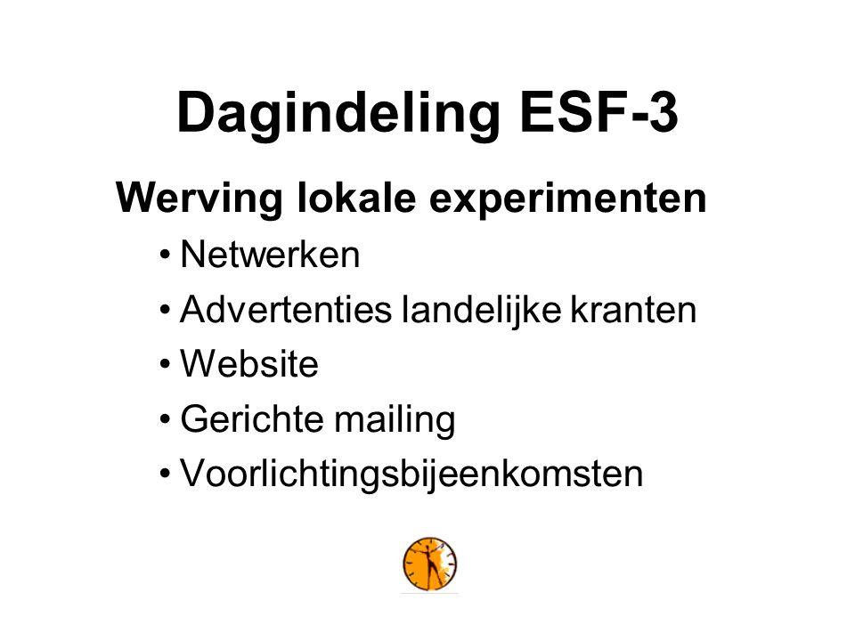 Dagindeling ESF-3 Werving lokale experimenten Netwerken Advertenties landelijke kranten Website Gerichte mailing Voorlichtingsbijeenkomsten