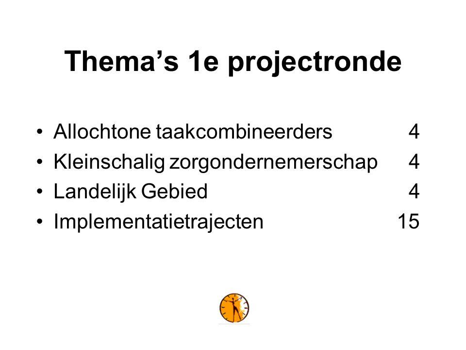 Thema's 1e projectronde Allochtone taakcombineerders4 Kleinschalig zorgondernemerschap4 Landelijk Gebied4 Implementatietrajecten 15