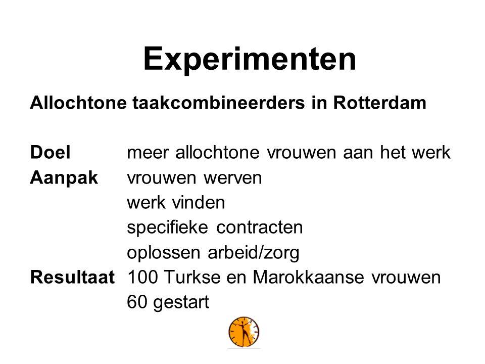 Experimenten Allochtone taakcombineerders in Rotterdam Doelmeer allochtone vrouwen aan het werk Aanpak vrouwen werven werk vinden specifieke contracten oplossen arbeid/zorg Resultaat100 Turkse en Marokkaanse vrouwen 60 gestart