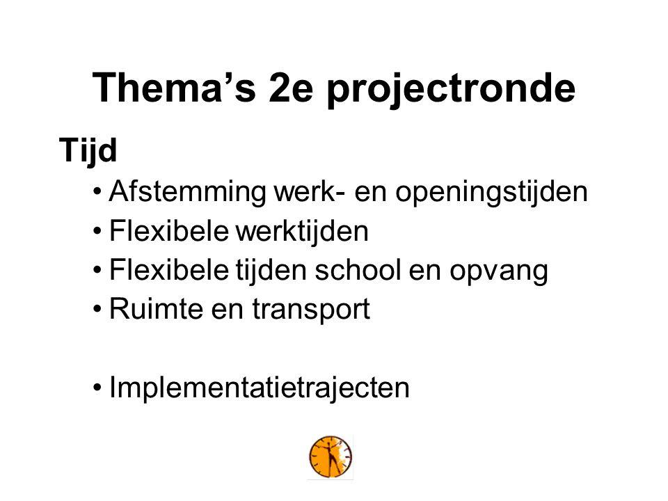 Thema's 2e projectronde Tijd Afstemming werk- en openingstijden Flexibele werktijden Flexibele tijden school en opvang Ruimte en transport Implementatietrajecten