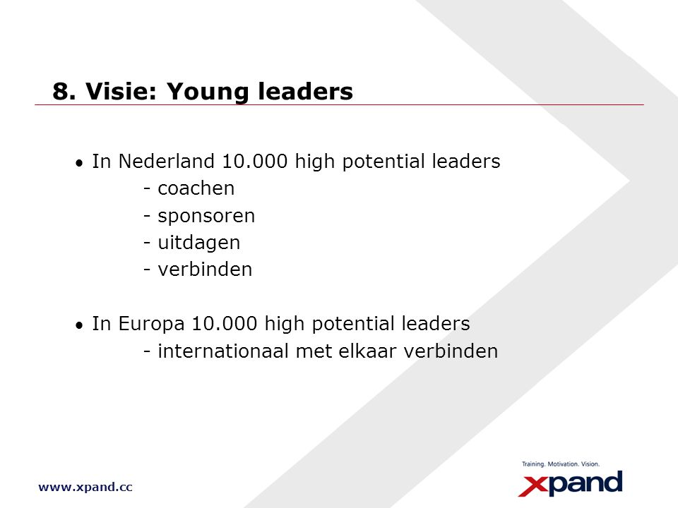 www.xpand.cc 8. Visie: Young leaders In Nederland 10.000 high potential leaders - coachen - sponsoren - uitdagen - verbinden In Europa 10.000 high p