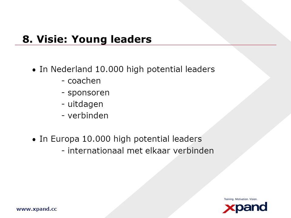 www.xpand.cc 8. Visie: Young leaders In Nederland 10.000 high potential leaders - coachen - sponsoren - uitdagen - verbinden In Europa 10.000 high p
