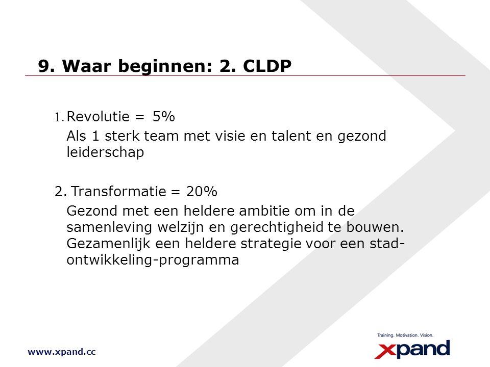 www.xpand.cc 9. Waar beginnen: 2. CLDP Revolutie =5% Als 1 sterk team met visie en talent en gezond leiderschap 2.Transformatie = 20% Gezond met ee
