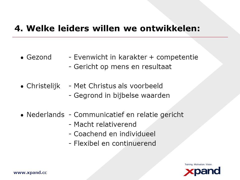 www.xpand.cc 4. Welke leiders willen we ontwikkelen: Gezond- Evenwicht in karakter + competentie - Gericht op mens en resultaat Christelijk- Met Chr