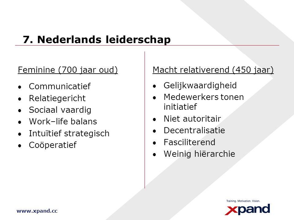 www.xpand.cc 7. Nederlands leiderschap Feminine (700 jaar oud) Communicatief Relatiegericht Sociaal vaardig Work–life balans Intuïtief strategisc